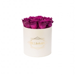 MEDIUM BLUMMIN CREAM BOX WITH VINTAGE PLUM ROSES