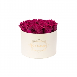 LARGE BLUMMIN - CREAM BOX WITH CHERRY ROSES