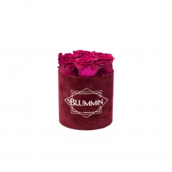 SMALL VELVET DARK RED BOX WITH CHERRY LADY ROSES