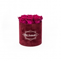 MEDIUM BLUMMIN DARK RED VELVET BOX WITH CHERRY LADY ROSES