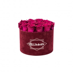 LARGE VELVET DARK RED BOX WITH CHERRY LADY ROSES