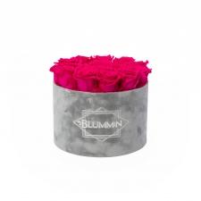 LARGE BLUMMiN - helehall sametkarp HOT PINK roosidega