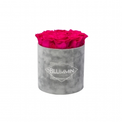 MEDIUM BLUMMIN LIGHT GREY VELVET BOX WITH HOT PINK ROSES