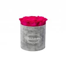 MEDIUM BLUMMiN - helehall sametkarp HOT PINK roosidega
