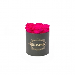 SMALL CLASSIC DARK GREY BOX WITH HOT PINK ROSES