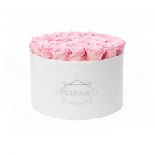 EXTRA LARGE BLUMMIN WHITE VELVET BOX WITH BRIDAL PINK ROSES