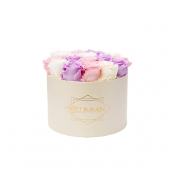 LARGE CLASSIC CREAM BOX WITH PASTEL MIX ROSES