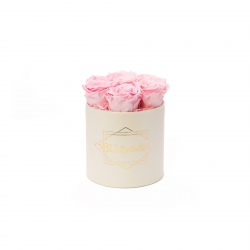 SMALL CLASSIC CREAM BOX WITH BRIDAL PINK ROSES