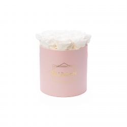 MEDIUM BLUMMIN LIGHT PINK BOX WITH WHITE ROSES