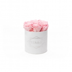 SMALL VELVET WHITE BOX WITH BRIDAL PINK ROSES