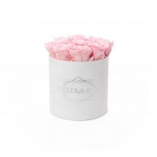 MEDIUM BLUMMIN WHITE VELVET BOX WITH BRIDAL PINK ROSES