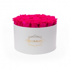 EXTRA LARGE WHITE BOX WITH HOT PINK ROSES