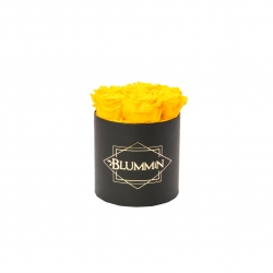 SMALL CLASSIC BLACK BOX WITH YELLOW ROSES