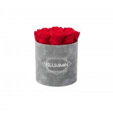 MEDIUM VELVET LIGHT GREY BOX WITH VIBRANT RED ROSES