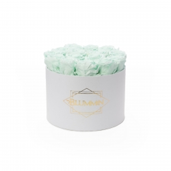 LARGE BLUMMIN - WHITE BOX WITH MINT ROSES