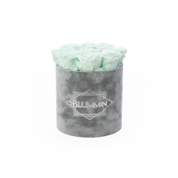 MEDIUM BLUMMIN LIGHT GREY VELVET BOX WITH MINT ROSES