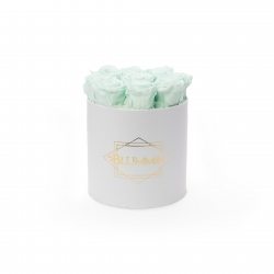 MEDIUM CLASSIC WHITE BOX WITH MINT ROSES