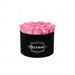 LARGE VELVET BLACK BOX WITH BABY PINK ROSES