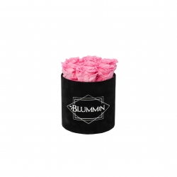 SMALL VELVET BLACK BOX WITH BABY PINK ROSES