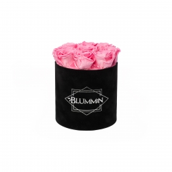 MEDIUM BLUMMIN BLACK VELVET BOX WITH BABY PINK ROSES