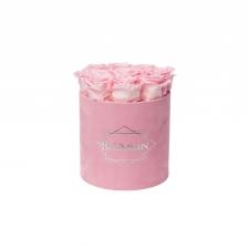 MEDIUM BLUMMIN PINK VELVET BOX WITH BRIDAL PINK ROSES