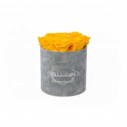 MEDIUM BLUMMIN LIGHT GREY VELVET BOX WITH YELLOW ROSES