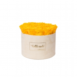 LARGE Kallile emale NUDE VELVET BOX WITH YELLOW ROSES