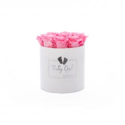BABY GIRL - WHITE VELVET BOX WITH 9 BABY PINK ROSES