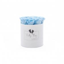 BABY BOY - WHITE VELVET BOX WITH 9 BABY BLUE ROSES
