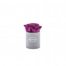 XS BLUMMIN - LIGHT GREY VELVET BOX WITH VINTAGE PLUM ROSES