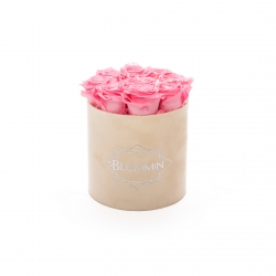 MEDIUM BLUMMIN NUDE VELVET BOX WITH BABY PINK ROSES