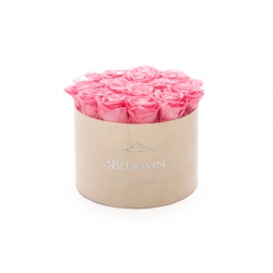 LARGE BLUMMIN NUDE VELVET BOX WITH BABY PINK ROSES