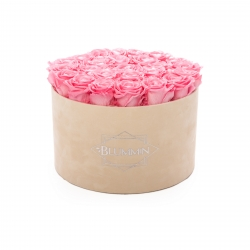 EXTRA LARGE VELVET NUDE BOX WITH BABY PINK ROSES