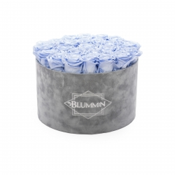 EXTRA LARGE VELVET LIGHT GREY BOX WITH COOL LAVENDER ROSES
