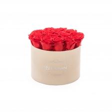 LARGE BLUMMiN - nude sametkarp VIBRANT RED uinuvate roosidega