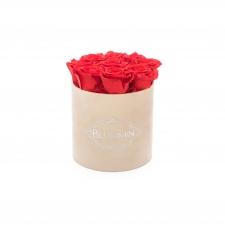 MEDIUM BLUMMiN - nude sametkarp VIBRANT RED uinuvate roosidega