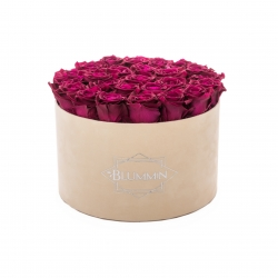 EXTRA LARGE BLUMMIN NUDE VELVET BOX WITH CHERRY ROSES