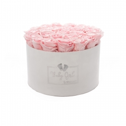 BABY GIRL - WHITE VELVET BOX WITH 25 BRIDAL PINK ROSES
