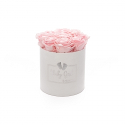 BABY GIRL - WHITE VELVET BOX WITH 9 BRIDAL PINK ROSES