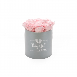 BABY GIRL - LIGHT GREY BOX WITH 9 BRIDAL PINK ROSES