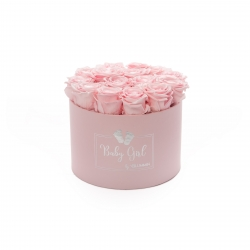 BABY GIRL - LIGHT PINK BOX WITH 15 BRIDAL PINK ROSES