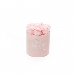 BABY GIRL - LIGHT PINK VELVET BOX WITH 7 BRIDAL PINK ROSES