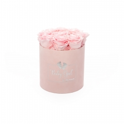 BABY GIRL - LIGHT PINK VELVET BOX WITH 9 BRIDAL PINK ROSES