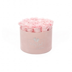 BABY GIRL - LIGHT PINK VELVET BOX WITH 15 BRIDAL PINK ROSES