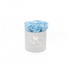 BABY boy - WHITE BOX WITH 7 BABY BLUE ROSES