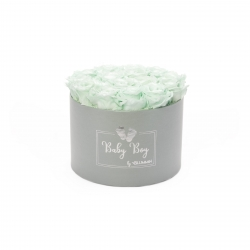 BABY BOY - LIGHT GREY BOX WITH 15 MINT ROSES