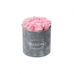 MEDIUM VELVET LIGHT GREY BOX WITH BRIDAL PINK ROSES
