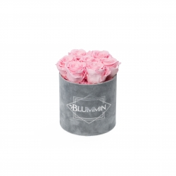 SMALL BLUMMiN - LIGHT GREY VELVET BOX WITH BRIDAL PINK ROSES