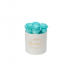 SMALL BLUMMiN - WHITE BOX WITH LIGHT AQUAMARINE ROSES