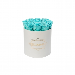 MEDIUM BLUMMIN WHITE BOX WITH LIGHT AQUAMARINE ROSES